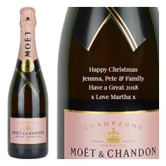 Engraved text on a bottle of Personalised Moet and Chandon Rose Magnum Champagne 150cl
