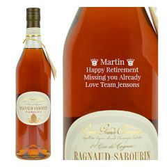 Engraved text on a bottle of Personalised Ragnaud Sabourin Cognac Florilege Cognac 70cl