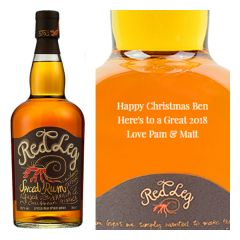 Engraved text on a bottle of Personalised RedLeg Spiced Rum 70cl