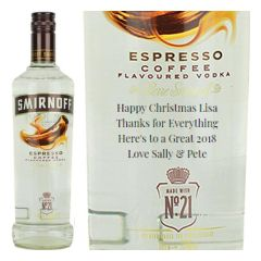 Engraved text on a bottle of Personalised Smirnoff Espresso Coffee Vodka 70cl