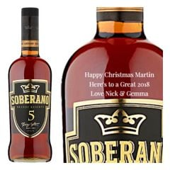 Engraved text on a bottle of Personalised Soberano Reserva 5 Brandy 70cl