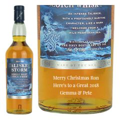 Engraved text on a bottle of Personalised Talisker Storm Whisky 70cl