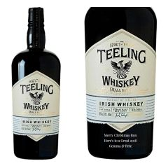 Engraved text on a bottle of Personalised Teeling Small Batch Whiskey 70cl