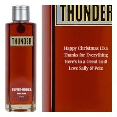 Engraved text on a bottle of Personalised Thunder Toffee Vodka 70cl