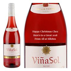 Engraved text on a bottle of Personalised Torres Vina Sol Rose Catalunya Wine 75cl