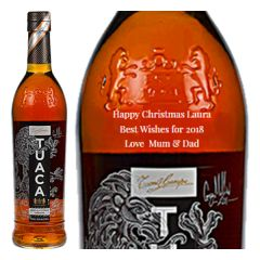 Engraved text on a bottle of Personalised Tuaca Italian liqueur 70cl