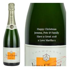 Engraved text on a bottle of Personalised Veuve Clicquot Demi Sec Champagne 75cl