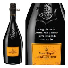 Engraved text on a bottle of Personalised Veuve Clicquot La Grande Dame Champagne 75cl