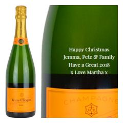 Engraved text on a bottle of Personalised Veuve Clicquot Yellow Label NV Champagne 75cl