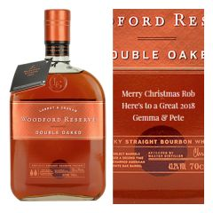 Engraved text on a bottle of Personalised Woodford Reserve Double Oaked American Whiskey 70cl