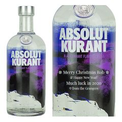 Engraved text on a bottle of Personalised Absolut Kurant Vodka 70cl