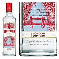 Engraved text on a bottle of Personalised Beefeater Gin 70cl