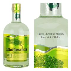 Engraved text on a bottle of Personalised Blackwoods Gin 70cl