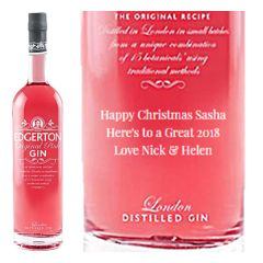 Engraved text on a bottle of Personalised Edgerton Pink Gin 70cl