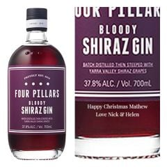 Engraved text on a bottle of Personalised Four Pillars Bloody Shiraz Gin 70cl