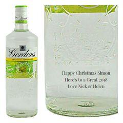 Engraved text on a bottle of Personalised Gordons Elderflower Gin 70cl
