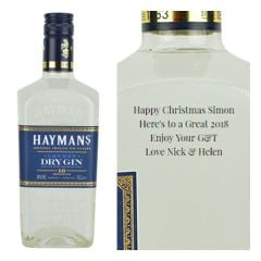 Engraved text on a bottle of Personalised Haymans London Dry Gin 70cl