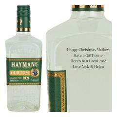 Engraved text on a bottle of Personalised Haymans Old Tom Gin 70cl