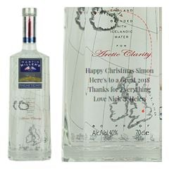 Engraved text on a bottle of Personalised Martin Millers Gin 70cl