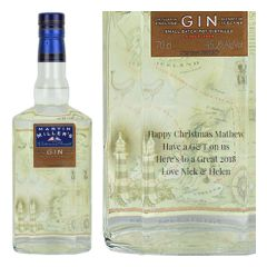 Engraved text on a bottle of Personalised Martin Millers Westbourne Strength Gin 70cl