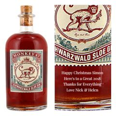 Engraved text on a bottle of Personalised Monkey 47 Sloe Gin 50cl