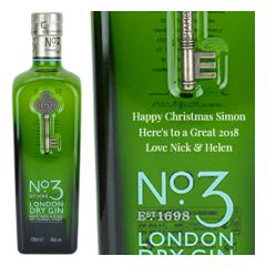 Engraved text on a bottle of Personalised No3 London Dry Gin 70cl
