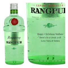 Engraved text on a bottle of Personalised Tanqueray Rangpur Gin 70cl