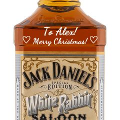 Engraved text on a bottle of Personalised Jack Daniels White Rabbit 70cl Engraved Tennessee Whiskey