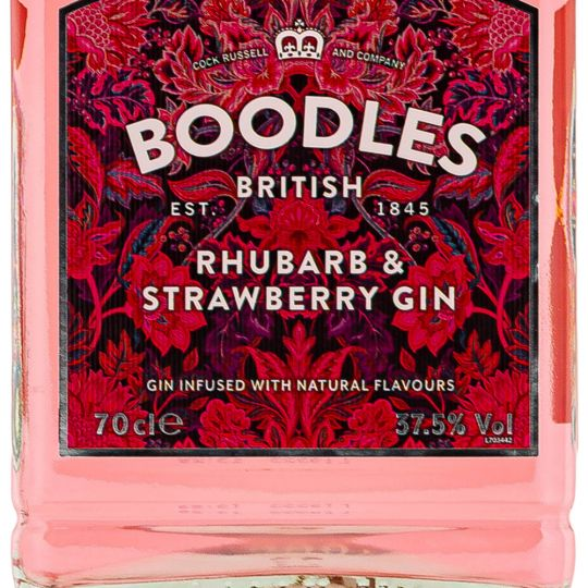 Personalised Boodles Strawberry Rhubarb Gin 70cl Engraved Flavoured Gin engraved bottle