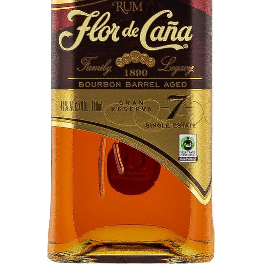 Personalised Flor De Cana 7 Year Old Grand Reserva Rum 70cl Engraved Golden Rum engraved bottle
