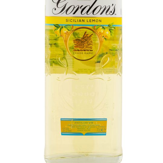 Personalised Gordons Sicilian Lemon 70cl Engraved Flavoured Gin engraved bottle