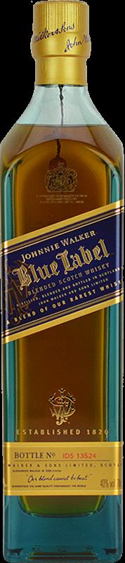 Personalised Johnnie Walker Blue Label Whisky 70cl engraved bottle