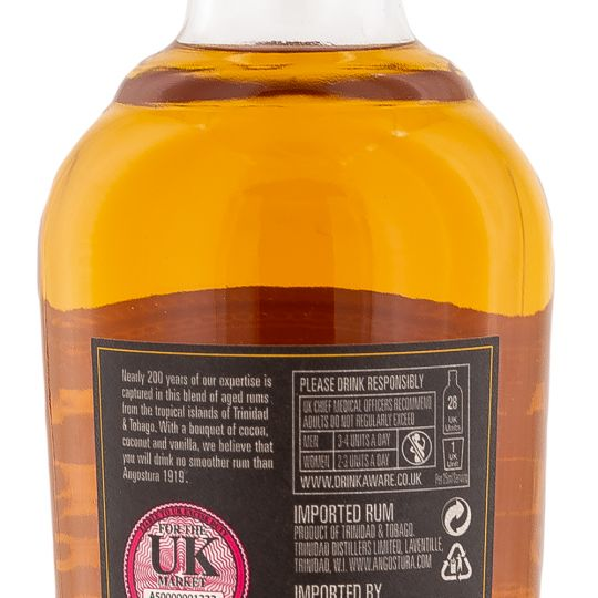 Personalised Angostura 1919 Gold Rum 70cl engraved bottle
