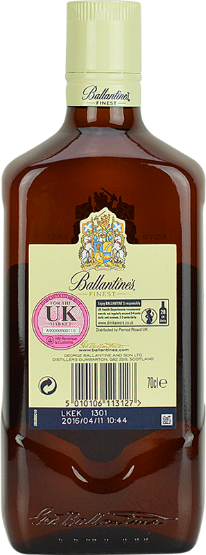 Personalised Ballantines Finest Whisky 70cl engraved bottle