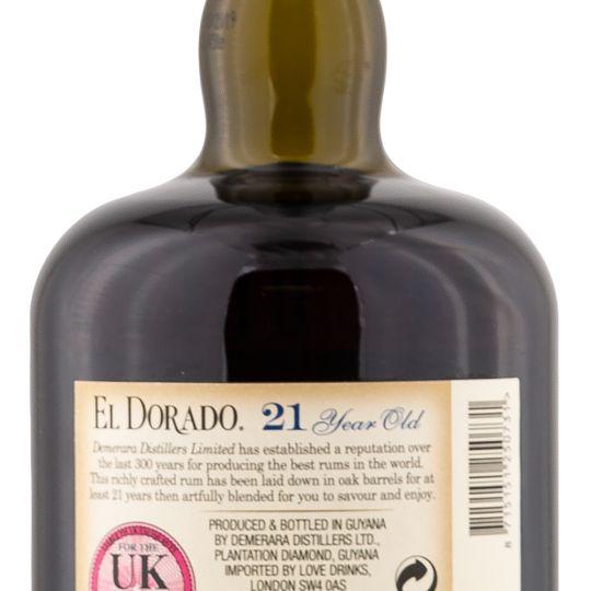 Personalised El Dorado Rum 21 Year Old 70cl Engraved Golden Rum engraved bottle