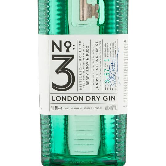 Personalised No3 London Dry Gin 70cl engraved bottle