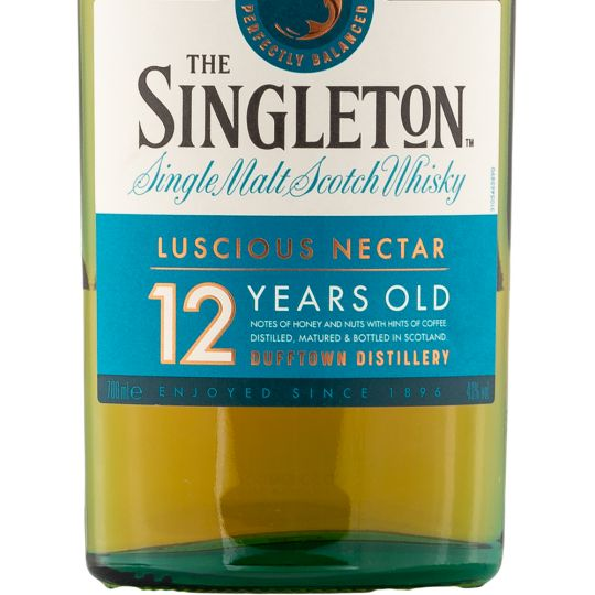 Personalised Singleton of Dufftown 12 Year Old Whisky 70cl engraved bottle