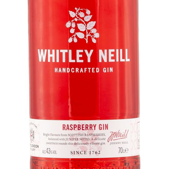 Personalised Whitley Neill Raspberry Gin 70cl engraved bottle
