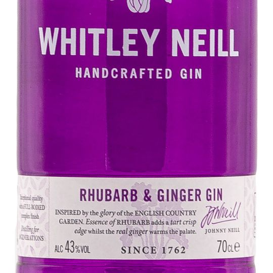 Personalised Whitley Neill Rhubarb & Ginger 70cl Engraved Flavoured Gin engraved bottle