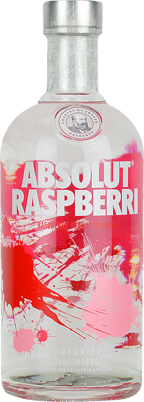 Engraved text on a bottle of Personalised Absolut Raspberri Vodka 70cl