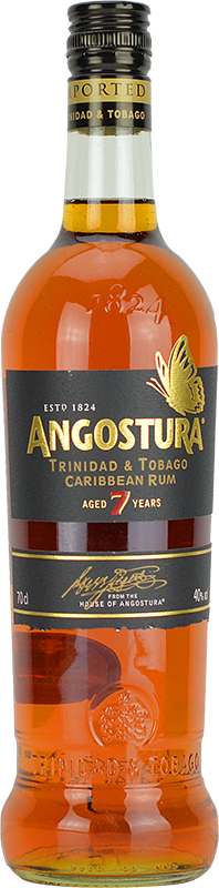 Engraved text on a bottle of Personalised Angostura 7 Year Old Dark Rum 70cl