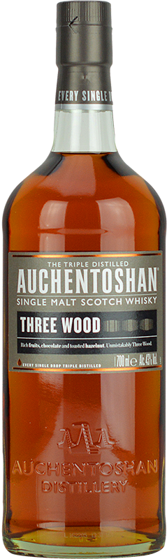 Engraved text on a bottle of Personalised Auchentoshan Three Wood Whisky 70cl
