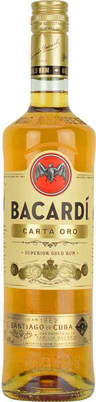 Engraved text on a bottle of Personalised Bacardi Carta Oro Rum 70cl
