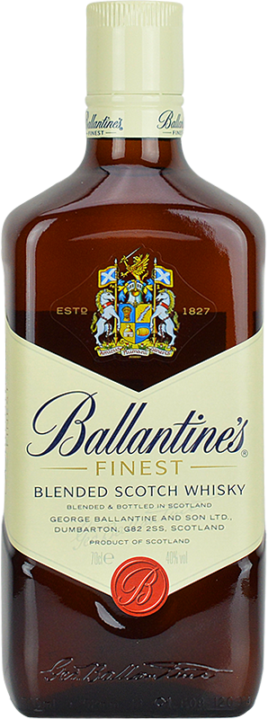 Engraved text on a bottle of Ballantines Finest