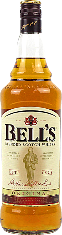 Engraved text on a bottle of Personalised Bells Original Blended Whisky 100cl