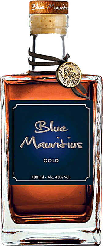 Personalised Blue Mauritius Gold Rum 70cl engraved bottle