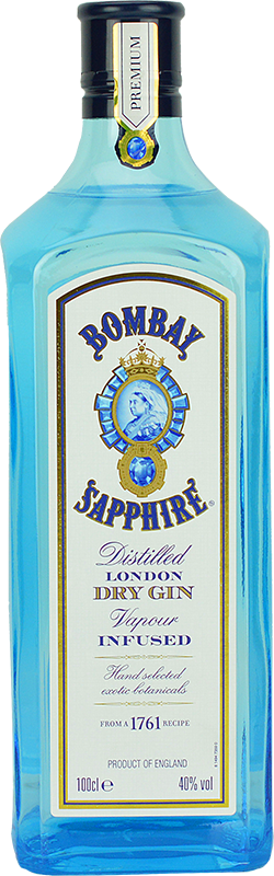 Engraved text on a bottle of Personalised Bombay Sapphire Gin 100cl