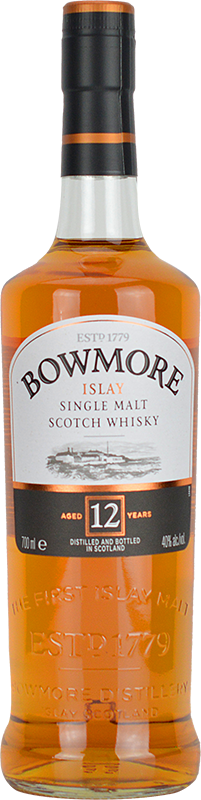 Engraved text on a bottle of Personalised Bowmore 12 Year Old Whisky 70cl