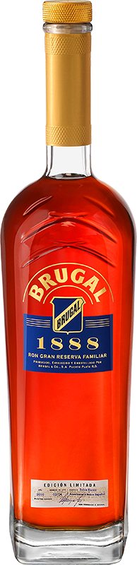 Engraved text on a bottle of Brugal 1888 Ron Gran Reserva Familiar