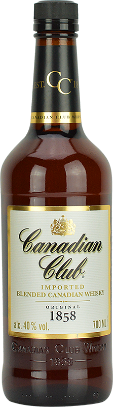 Engraved text on a bottle of Personalised Canadian Club Canadian Whisky 70cl